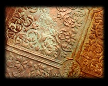 Copper Ceiling Tile Art - Original work  Copper Patina and Rust faux finish -  11x14 stretched canvas