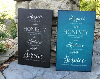 4 Virtues-Respect, Honesty, Kindness, Service