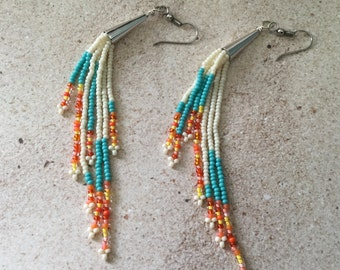 "Beaded Fringe Earrings/""Summer Fun""/Glass Seed Beads/5 1/2"" Long/Cream/Turquoise/Orange/Yellow"