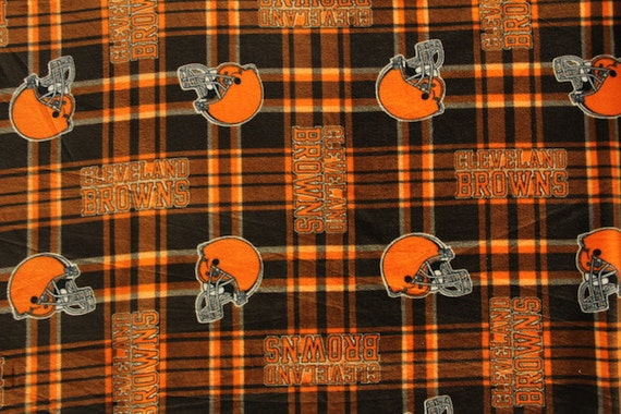 cleveland browns football plaid anti pill polar fleece plush fabric polyester 13 oz 58 60. Black Bedroom Furniture Sets. Home Design Ideas