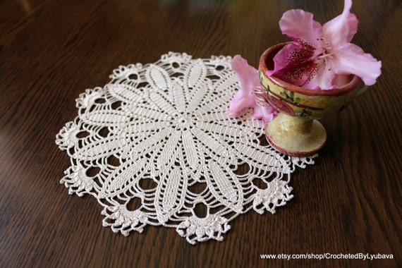 Free Crochet Patterns Round Table Toppers : Crochet Lace Doily Round Table Topper by CrochetedByLyubava