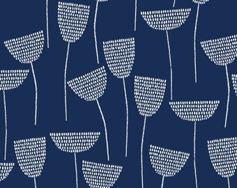 Fabric - Cloud 9 - Threads Stitch Stem Navy - Double gauze fabric