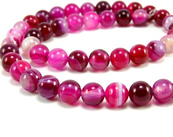 8mm Pink Agate Beads, 1 strand (47pcs) Round Agate Beads, Pink Agate, Loose Gemstone Beads, Round Natural Stone, Men Bracelet Findings