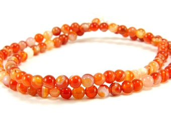 Agate Beads, 4mm Round Orange Agate Bead Strands, 1 Full Strand Semiprecious Gemstone Beads, Loose Beads, Agate Bead Findings, FIRST QUALITY
