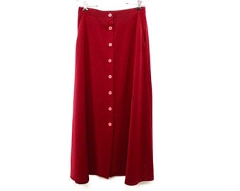 Long Button up skirt with pockets // Deep Scarlet Red Skirt // Long Skirt with pockets