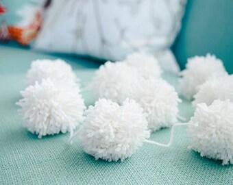 white : yarn pom pom garland
