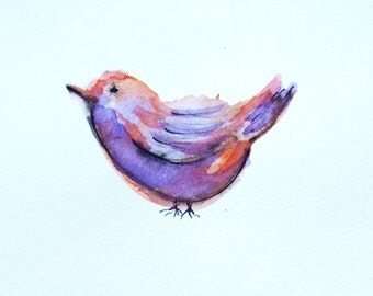Original Orange and Purple Bird Watercolor Painting, Small Watercolor,Animal Art, Cute Bird, Gift Idea, Gift for Her, Gift for Him