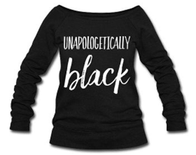 Unapologetically Black Wide Neck Off Shoulder Slouchy Women's Sweatshirt - Black
