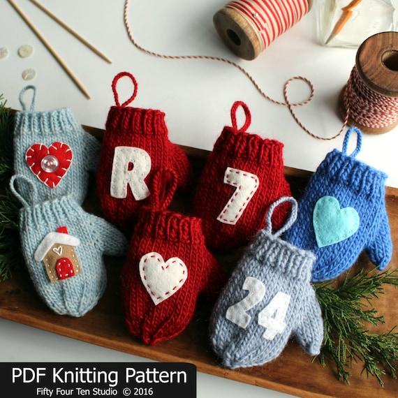 Knitting Pattern For Mini Mittens : Knitting PATTERN / Mitten Christmas Ornament / Quick Knit
