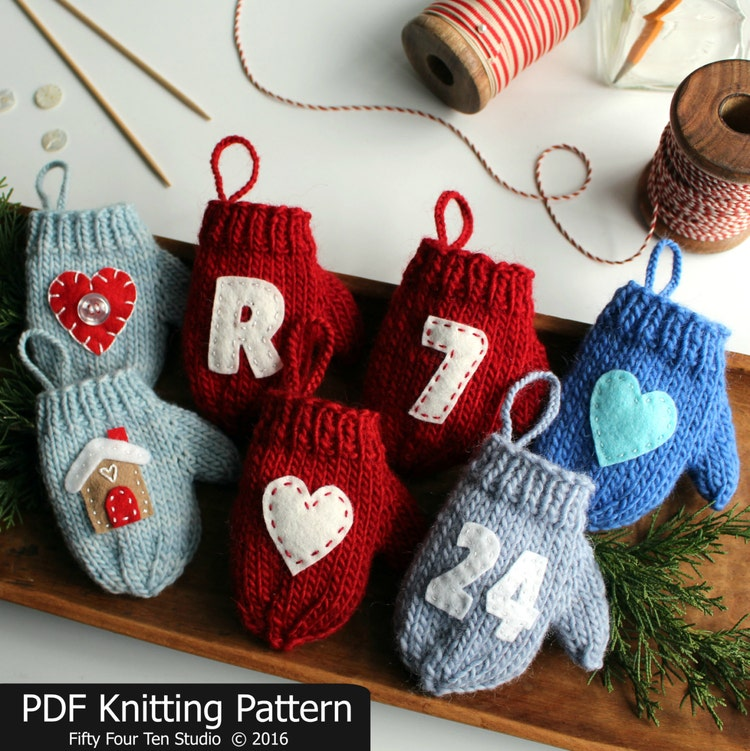 Knitting Patterns Christmas Figures : Knitting PATTERN / Mitten Christmas Ornament by FiftyFourTenStudio