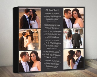 Personalized Song Lyrics Canvas, Photo Collage Canvas, Custom Anniversary Canvas Gift for Couples Gift for Wife Husband Wedding Gift for Her