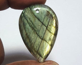 65 carat Full Fire Labradorite Gemstone Pear Shape Front Drilled cabochon 41 x 27 mm: LG2040