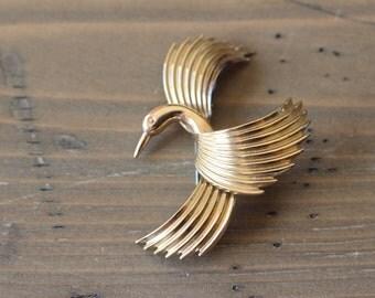 Vintage Krementz Flying Craine Swan Gold Plated Brooch