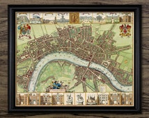 17th Century Map Of London Print - City Of London - United Kingdom Capital City - Printable Art - Single Print #784 - INSTANT DOWNLOAD