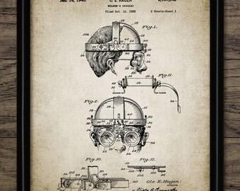 Vintage Welder's Goggles Patent Print - 1940 Welding Design - Welder - Eye Protection - Steampunk - Single Print #1234 - INSTANT DOWNLOAD