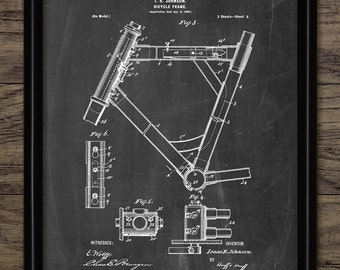 Bicycle Frame Patent Print - 1899 Bicycle Frame Design - Vintage Bicycle Wall Art - Cycle Frame - Single Print #1507 -INSTANT DOWNLOAD