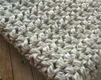 Handmade Crochet Grey and White Gender Neutral Crochet Baby Blanket