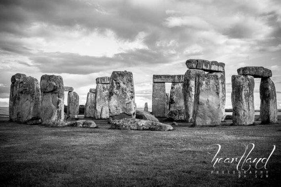 Black and White, Landscape Photo, Stonehenge Image, Travel Pictures, UK Monuments, World Heritage Site, Burial Sites, Preserving History