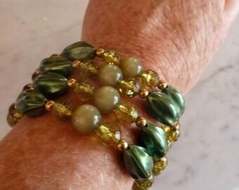 Vintage Green Beaded Cuff Bracelet