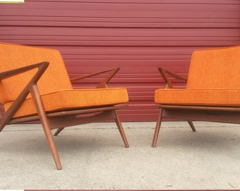 Mid Century Modern Louge Chairs Solid Teak: Electric Orange