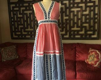 Vintage Gingham Midi Dress