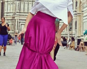 Dark Fuchsia Skirt / Fabulous Dark Fuchsia Skirt / Extravagant Skirt / Summer Long Skirt TS13