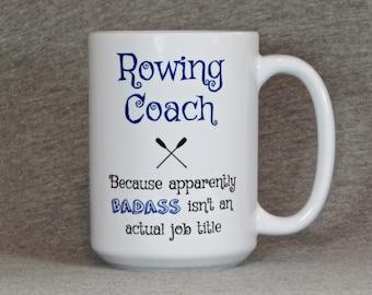 rowing coach mug, large ceramic mug for crew coach, gift for rowing coach, 15 ounce crew mug, funny rowing mug