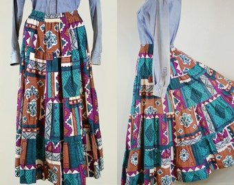90's Vintage Southwestern Print Tiered Maxi Skirt Full Length A Line Ozark Mountain Jean Company