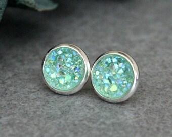 Mint Stud Earrings, Mint Druzy Earring, Mint Green Earrings, Mint Druzy Studs, Mint Green Stud Earrings, Mint Post Earrings, Mint Earrings