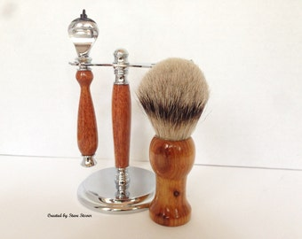 Shaving Set - Fusion Razor - Silvertip Badger Hair Brush