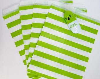 Pack of 12 green and white stripes favor bags, birthday party, candy bar, wedding, gift