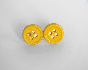 Sunshine Yellow Button Earrings