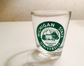Vintage Michigan State Shot Glass College Shot Glass Whiskey Jigger