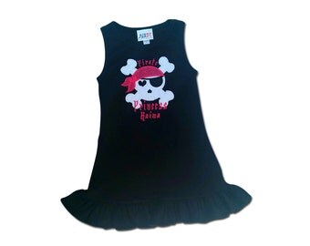 Girl's Pirate Princess Dress with Embroidred Name - Customizable Colors
