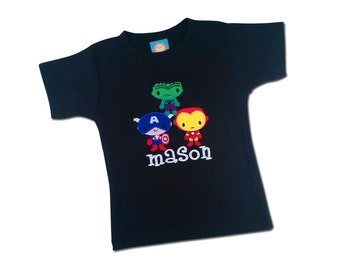 Boy's Superhero Birthday Shirt with Superhero Trio and Embroidered Name