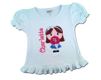 Girl's Birthday Shirt with Cotton Candy Birthday Number and Embroidered Name