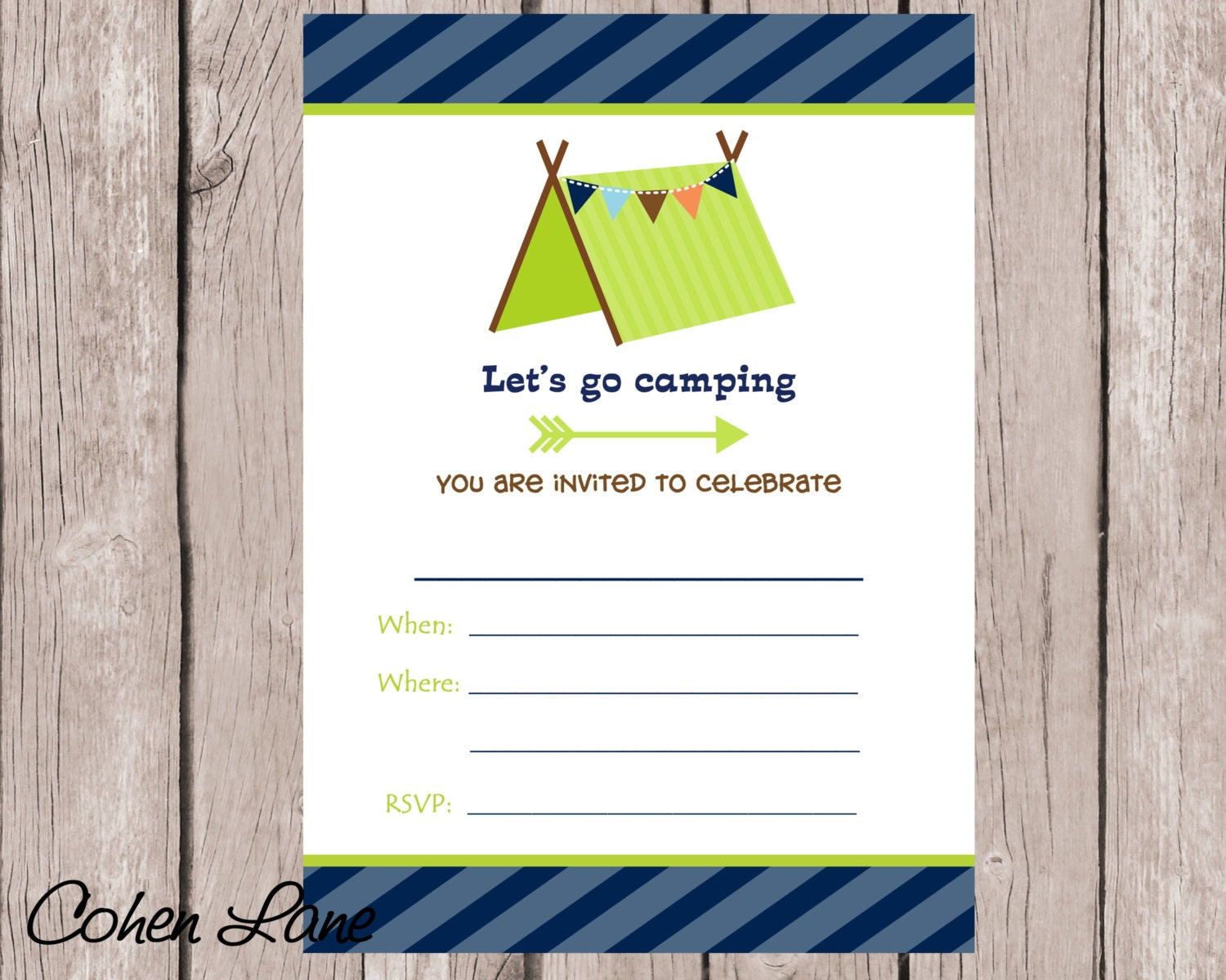 Instant Download Fill In the blank Camping Birthday – How to Fill out a Birthday Party Invitation