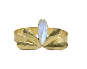 SUMMER SALE - Rainbow moonstone bracelet,long teardrop bracelet,gold cuff,rose gold bracelet,custom gemstone cuff,personalized cuff