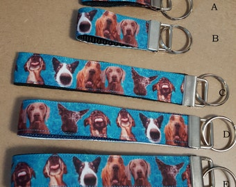key fob, wristlet, keychain, lanyard - big nose, funny face dogs - M1808