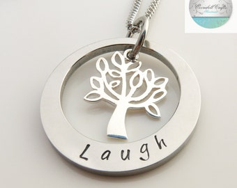 Silver Tree of Life  Hand Stamped Names necklace tree charm, Customise personal Family Necklace   Girls necklace   custom made   bridesmaide