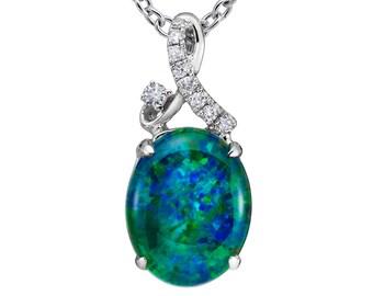 Natural Opal Pendant 18k White Gold & Genuine Diamonds and 18k White Gold Rare Coober Pedy Mine Opal Necklace Pristine Custom Rings
