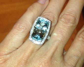 Aquamarine Engagement Ring Long Cushion Cut 9ct Ring 1.76ct Colorless Moissanites Birthstone Ring Cocktail Ring Pristine Custom Rings