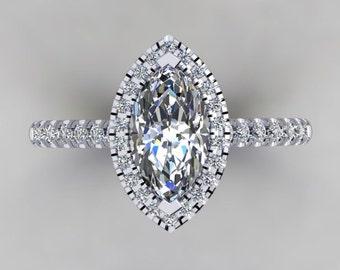 Diamond Halo Engagement Ring 1ct  Marquise Cut Center Russian Diamond Simulate  .32ct Simulate Diamonds Ring 14k Gold Pristine Custom Ring