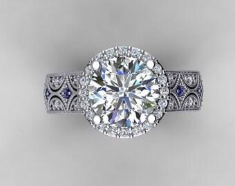 Forever One Moissanite Genuine Diamonds & Sapphires 2.75tw 8.5mm Round Center 18k Gold Engagement Ring Anniversary Pristine custom rings