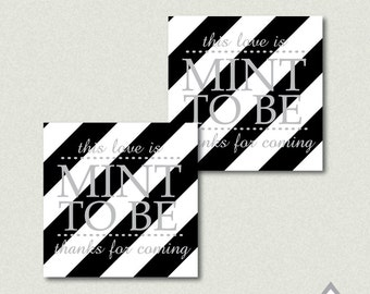 Mint to be Favor Tags, Mint Favors, Printable Wedding Favor Tags, Black and Silver Wedding, Silver Wedding, Printable PDF, Thank you Tags
