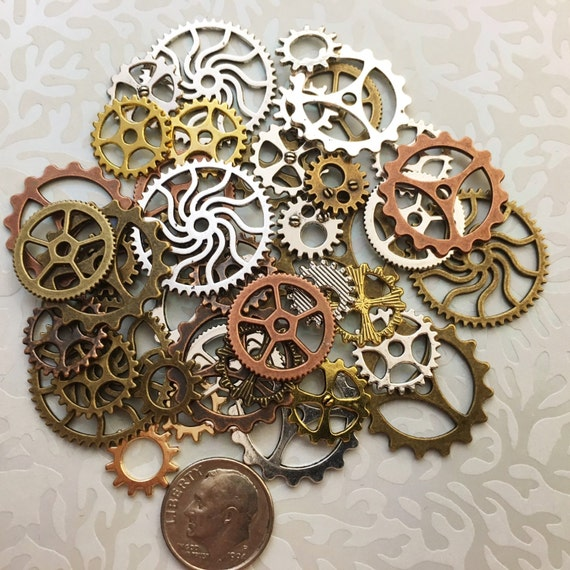 Is Steampunk Jewelry A Craft Or An Art: 40 Steampunk Gears Cogs Buttons Watch Parts Altered Art