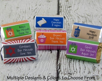 Bat Mitzvah Favors - Hanukkah Favors - Hanukkah Gifts - Candy Bar Wrappers - Bar Mitzvah Favors - Chanukah Favors - 18 PRINTED Labels