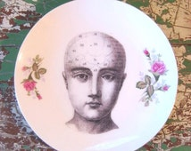 Large Phrenology Head Altered Decorative Plate