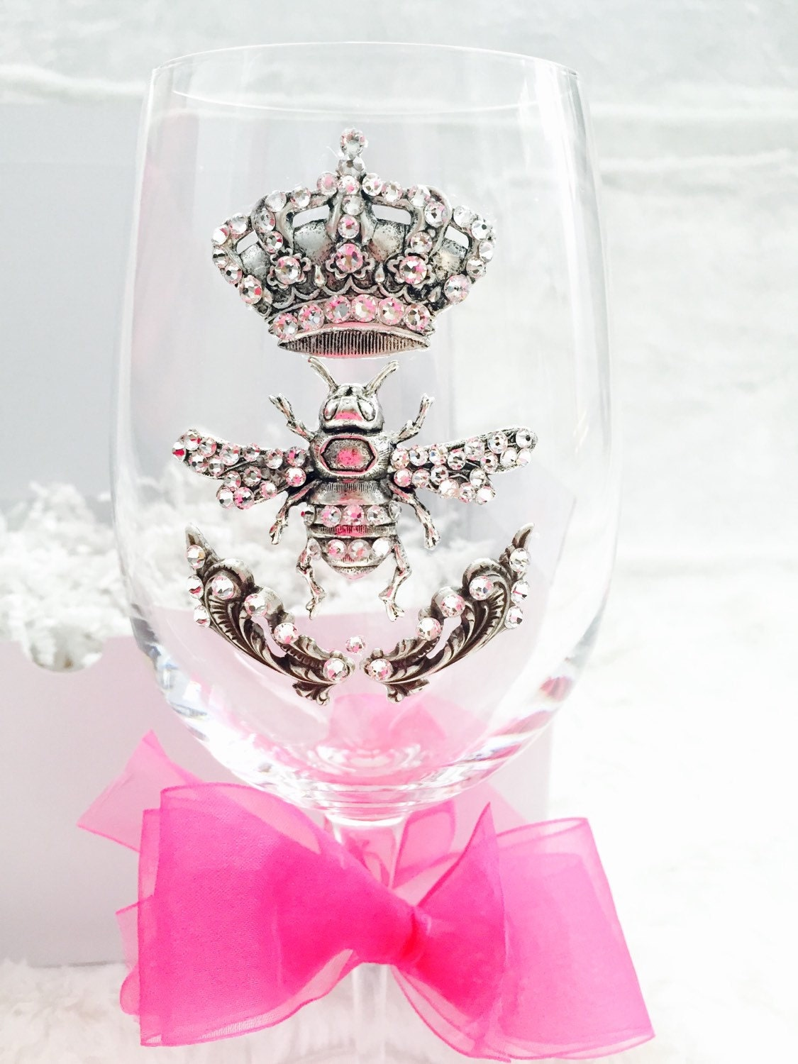 Queen Bee Adorned Crystal Wine Glass With A Crown Bee And