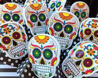 Day of the Dead Cake Toppers (12), Dia de los Muertos Party Decor, Cupcake Topper Rings, Halloween Cupcakes, Party Decorations, Sugar Skull